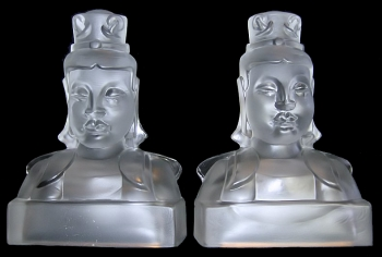 5029-Empress Book Stops-Frosted Crystal Blacked out